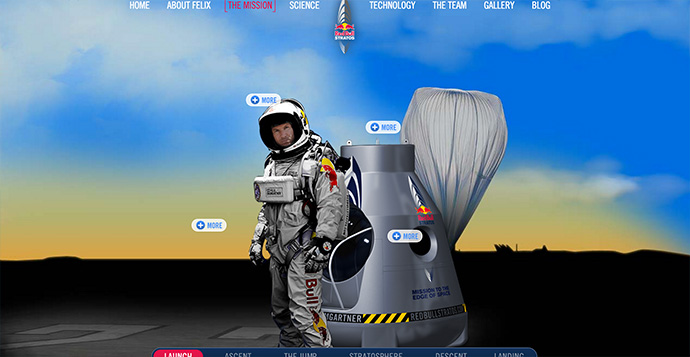 Red Bull Stratos parallax website