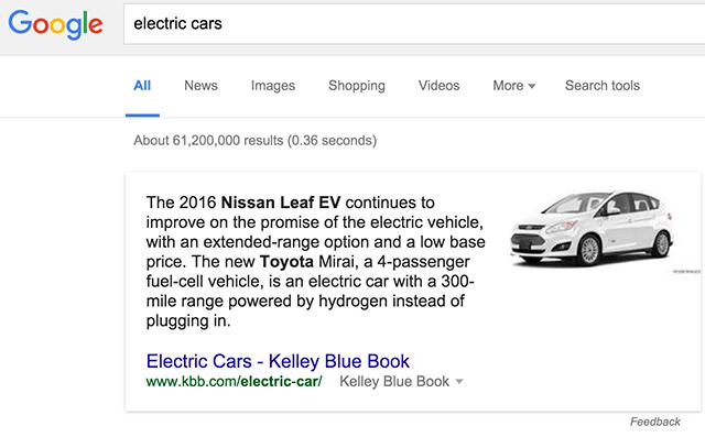 A kiemelt részletek megjelenése egy Google keresésnél