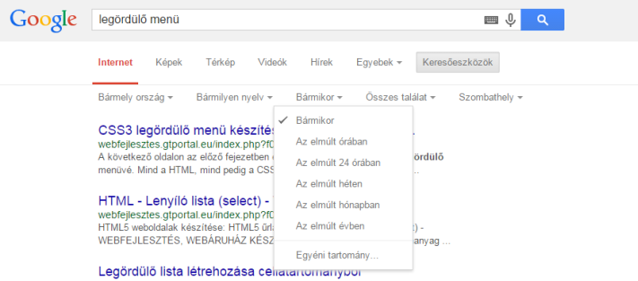 Legördülő menü a Google oldalán