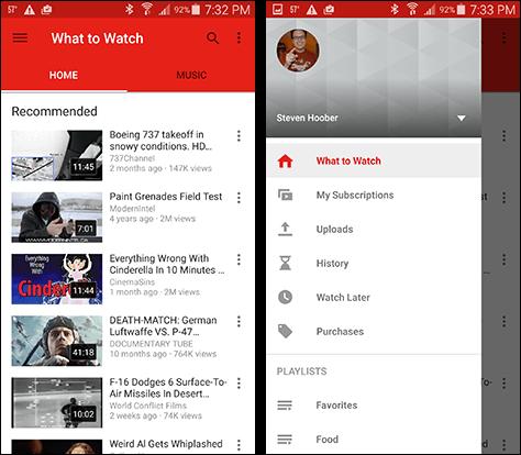 A YouTube applikációja is a lényeget hangsúlyozza, a többi rejtve marad, mégpedig egy hamburger ikon által