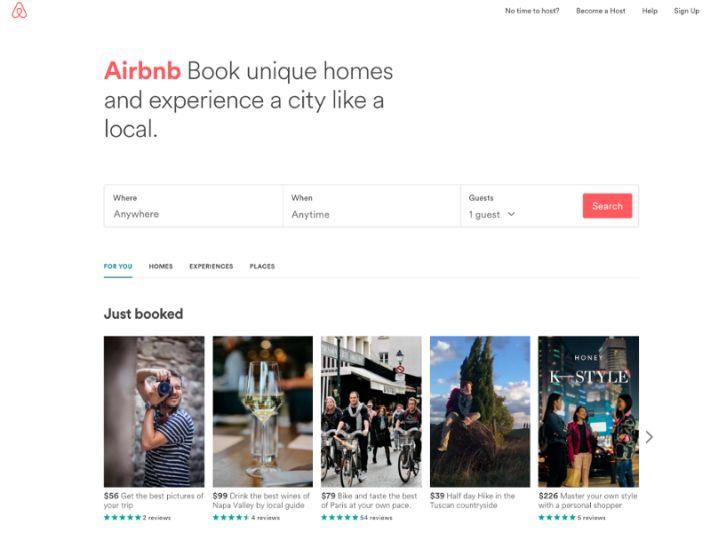 Az Airbnb oldala is egyszerű