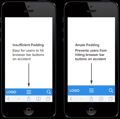 A padding növelése (Forrás: UX Movement)