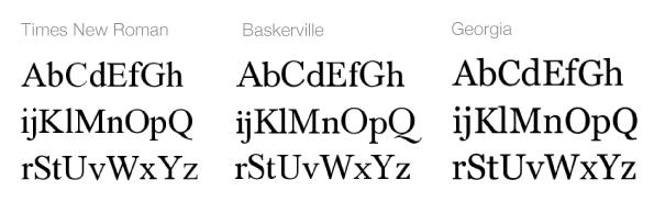 Átmeneti stílusú serif betűtípusok