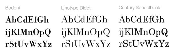 Modern stílusú serif betűk
