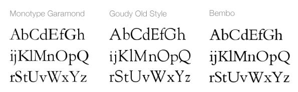 Régi stílusú serif betűtípusok
