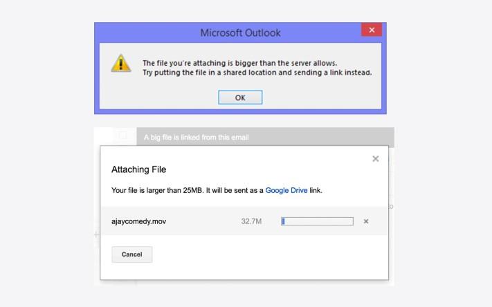 Különbség az Outlook és a Gmail hibaüzenete között